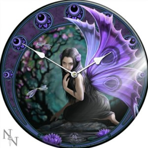 Naiad Glass Clock shows a purple-winged fairy kneeling beside a pool