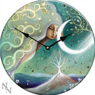 Earth and Moon Glass Clock shows a moon goddess shedding her light on the earth below