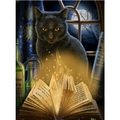 Bewitched 3D Picture shows a magical black cat with spell book pages moving by magic