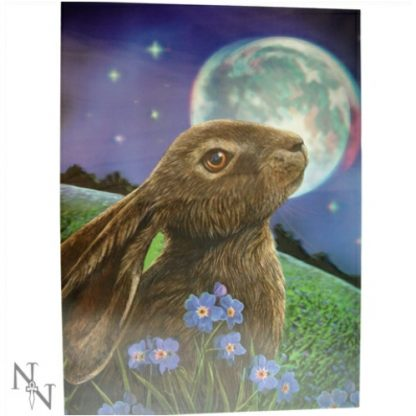 Moon Gazing Hare 3D Picture shows a hare amongst blue flowers gazing up at the moon