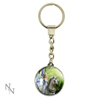 Realm of Enchantment Keyring shows a fairy on a rose-adorned unicorn with a dragon in a forest