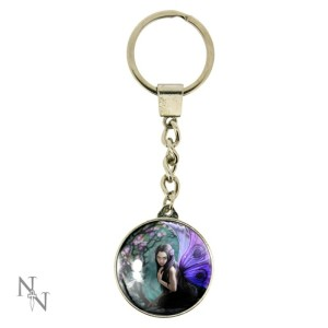 Naiad Keyring shows a purple-winged fairy beside a pool