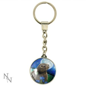Moon Gazing Hare Keyring shows a hare amongst blue flowers gazing at the moon