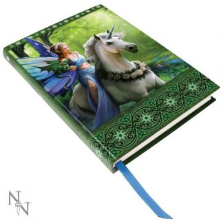 Realm of Enchantment Embossed Journal shows a fairy on a rose-adorned unicorn with a dragon in a green forest