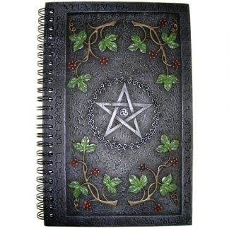 Wiccan Book of Shadows shows a pentagram within a circle of Trinity Knots with leaves and berries