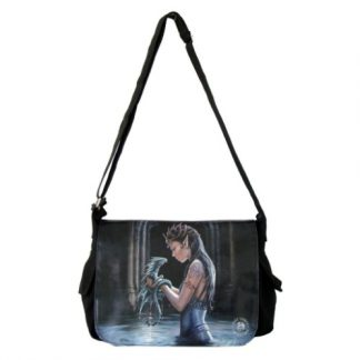 Water Dragon Messenger Bag shows an elven maid, waist deep in water, with a water dragon hatchling