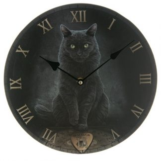 His Master's Voice Clock shows a black cat with a ouija board