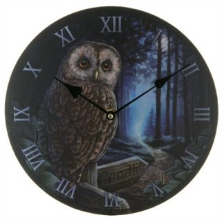 Way of the Witch Clock shows an owl in a forest perched on a sign pointing to Pendle