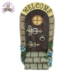 Fairy Door with Welcome Sign and Blue Flowers