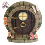 Fairy Door with Butterflies and Orange Flowers