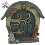 Fairy Door with Toadstools and Blue Flowers