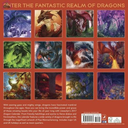 This image shows the back cover of the Llewellyns 2017 Dragon Calendar