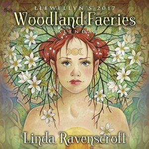 This image is of the front cover of the Woodland Faeries 2017 Calendar by Linda Ravenscroft
