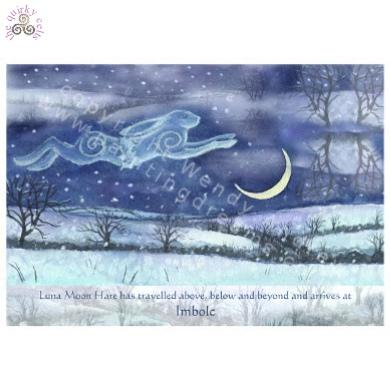 Luna Moon Hare at Imbolc Card