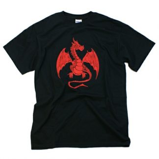Red Dragon on Black T Shirt