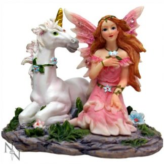 Peony and Garnet Fairy and Unicorn Figurine