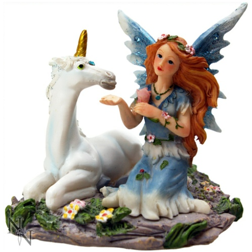 Cornflower and Sapphire Fairy and Unicorn Figurine