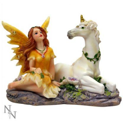 Primrose and Citrine Fairy and Unicorn Figurine
