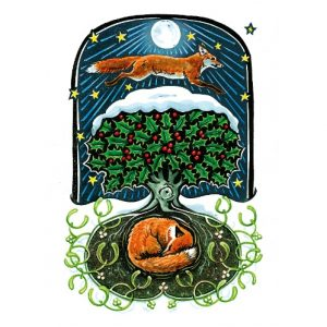Moonbeams and Fox Dreams Yule Card