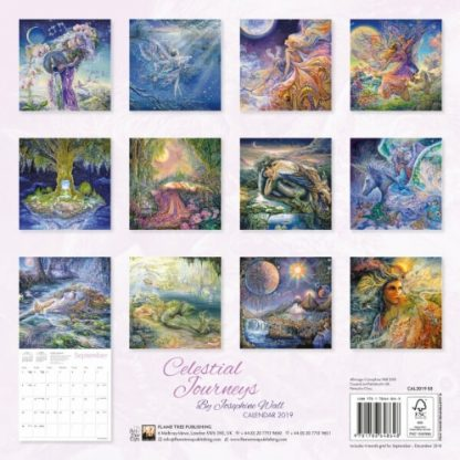 Celestial Journeys by Josephine Wall Calendar 2019 back view