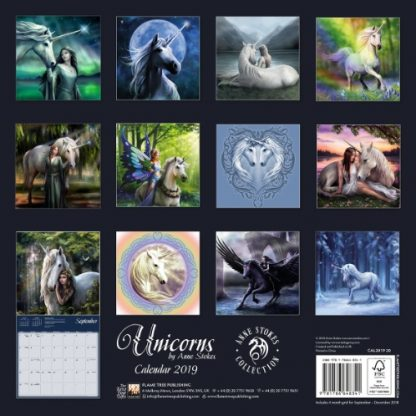 Unicorns by Anne Stokes Calendar 2019 back view