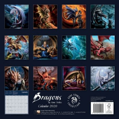 Dragons by Anne Stokes Calendar 2020 back view