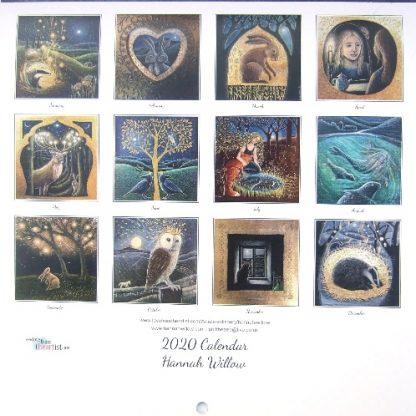 Hannah Willow Calendar 2020 back