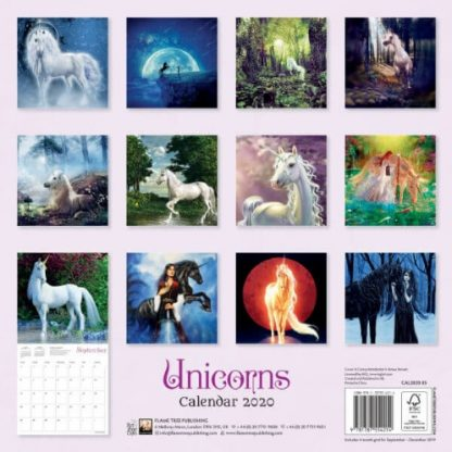 Unicorns Calendar 2020 back